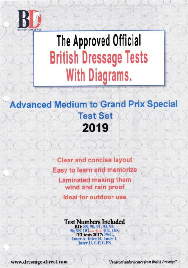 British Dressage Tests With Diagrams Advanced Medium to Grand Prix Special